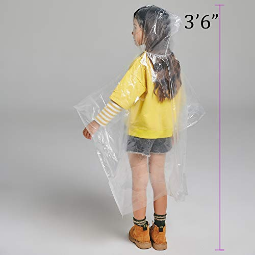 Disposable Rain Ponchos for Adults by(6 Pack) Including Drawstring Hood and Premium Quality 50% Thicker Material 100% Waterproof Emergency Rain Ponchos for Kids-Clear White (Clear Kids 6 Pack) by Timoch (Image #2)