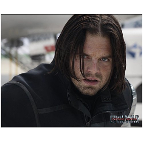Captain America Sebastian Stan as Bucky Barnes Winter Soldier Close Up 8 x 10 Inch Photo