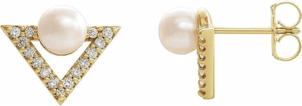 Pendientes de oro amarillo de 14 quilates con perlas cultivadas de agua dulce y diamantes de 0,2 quilates para mujer