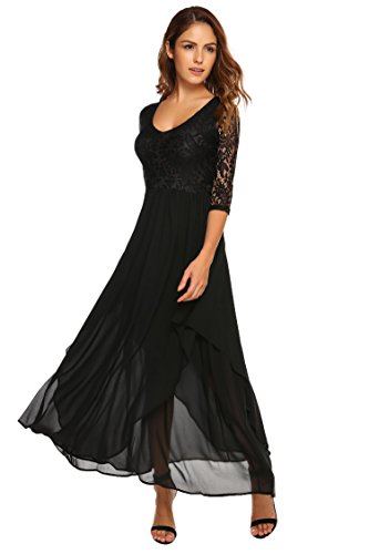 Dress Prom Full Skirt Chiffon (ANGVNS Women's V Neck Floral Lace Flowy Chiffon Full Length Casual Maxi Dress, L, Black)
