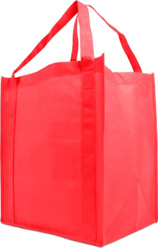 Reusable Reinforced Handle Grocery Tote Bag Large 10 Pack - Red Large Grocery Tote