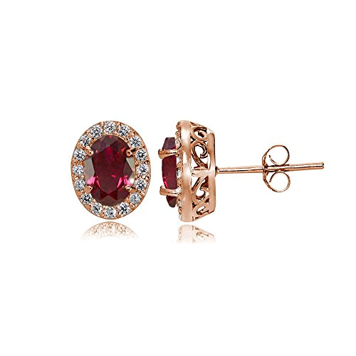 Rose Gold Flashed Sterling Silver Genuine, Created or Simulated Gemstone and Cubic Zirconia Accents Oval Halo Stud Earrings