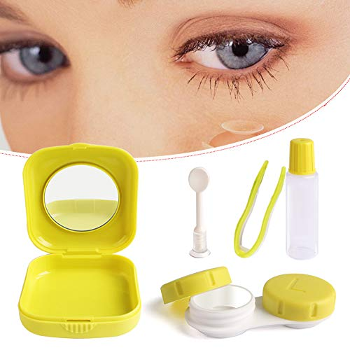 Cute Pocket Mini Contact Lens Case Travel Kit Easy Carry Mirror Container Holder Light Blue