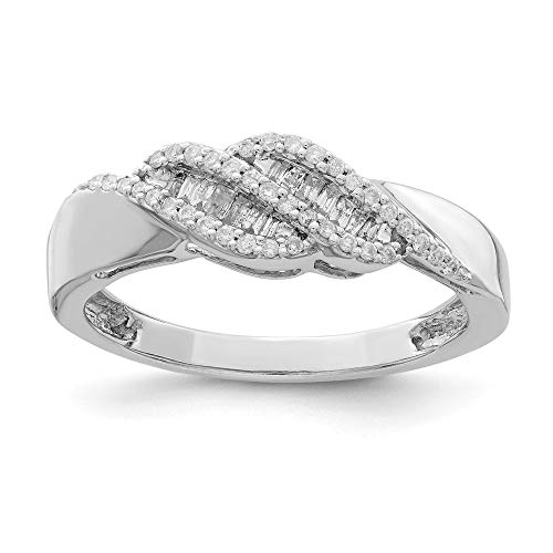 Size 6 Solid 925 Sterling Silver 0.21ct Diamond Baguette Swirl Ring (2mm) Baguette Diamond Swirl Ring
