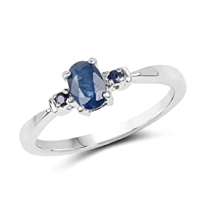 Johareez 0.57 cts Blue Sapphire .925 Sterling Silver Rhodium Plated Ring for Women