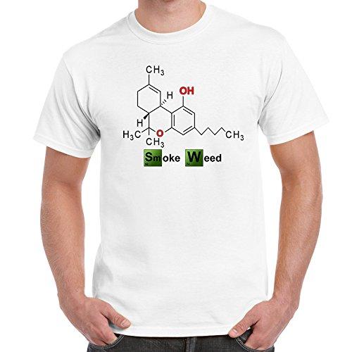 Mens Funny Sayings Slogans T Shirts-Smoke Weed Breaking Bad Style-White-Medium