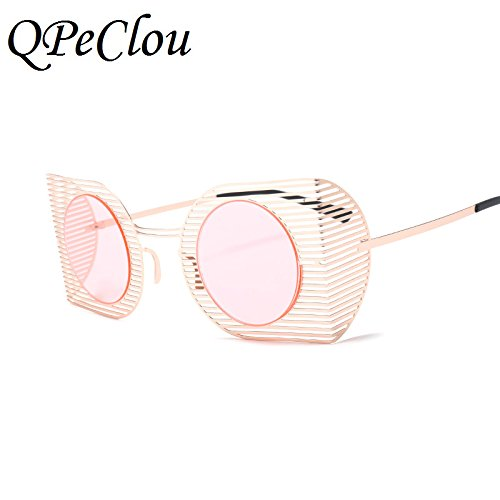 40a316172f3 Gold Blue0422   QPeClou Unique Hollow Round Sunglasses Women Brand 2018 New  Nets Sun Glasses Men Big Frame Oculos Unisex Eyeglasses Frame UV400   Amazon.in  ...