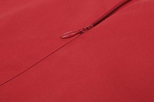 Vintages Taille Floral Sans 50 Marquée Imprimé Femmes Des Années Avec La À Acevog Rouge Manches Robe Eq60xPn
