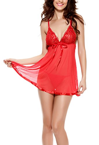 [Women's Babydoll Lingerie Set V Neck Chemise Sleepwear with G String Mini Dress Sexy Lace Bowknot Red 2XL (US Size] (Cheap Mrs Claus Outfit)