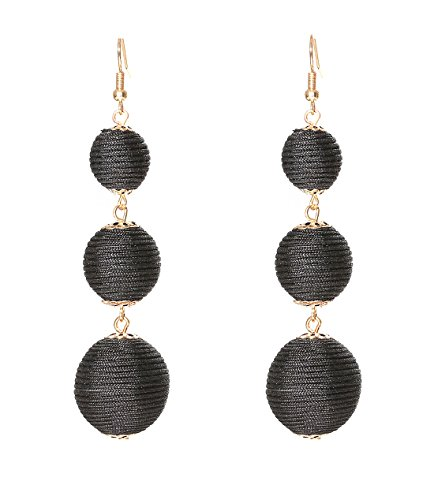 VK Accessories Thread Ball Dangle Earrings Thread Dangle Earrings Soriee Drop Earrings Beaded Ball Ear Drop Black ()