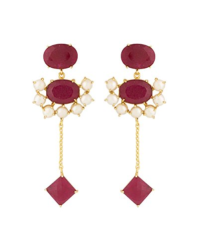 Voylla Women's Pink Stone Decked Dangler Earrings With Pearl Embellishments by Voylla