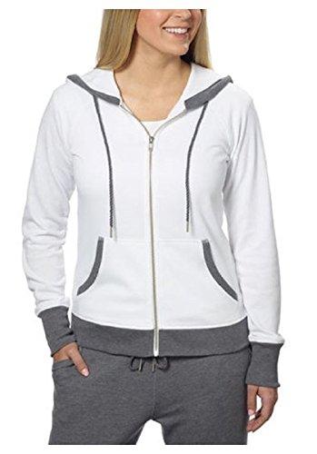 Champion Ladies' French Terry Full Zip Hoodie (Medium, White)