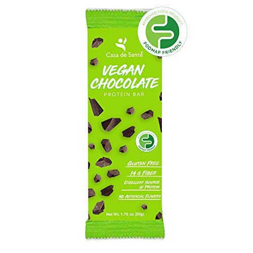 Low FODMAP Certified Vegan Protein Prebiotic Snack Bar - 12g Protein, Gluten Free, Dairy Free, Soy Free, Paleo, Low Carb, Resistant Starch & Soluble Fiber, No Sugar Alcohols (Chocolate, 12 Bars)