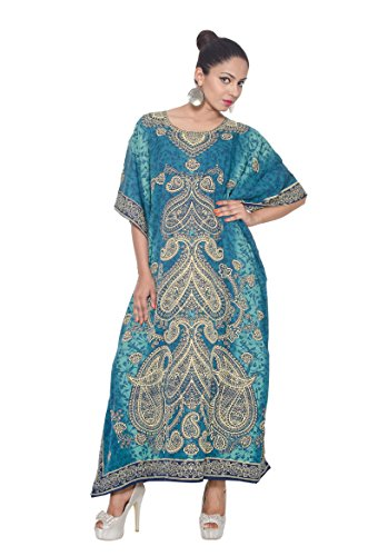 Goood Tiimes Long Caftan Dress Maxi Paisley Patteren Golden Print,Turquoise Blue,One Plus ()