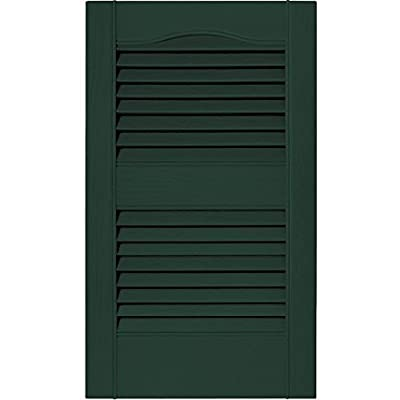 Builders Edge 12 in. Vinyl Louvered Shutters in Midnight Green - Set of 2 (12 in. W x 1 in. D x 72 in. H (6.8 lbs.))