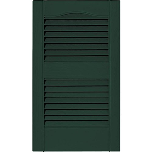 PCI Enterprises 12 in. Vinyl Louvered Shutters in Midnight Green - Set of 2 (12 in. W x 1 in. D x 24 in. H (1.23 lbs.))