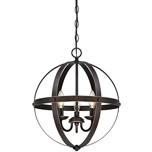 Westinghouse Lighting 6341800 Stella Mira Three-Light Pendant, Oil Rubbed Bronze Finish with Highlights, w (Renewed)