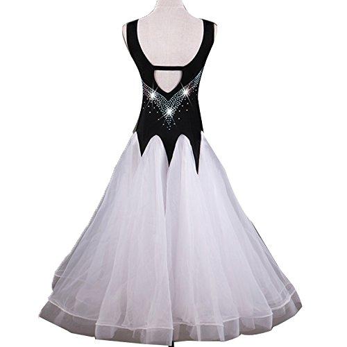 Professionale Cornice Vestito Moderna Strass Costumi Da Ballroom Waltz Competizione In Maniche Outfit Per Donne Prestazioni White Dance Ballo Senza Dancing w7UPq