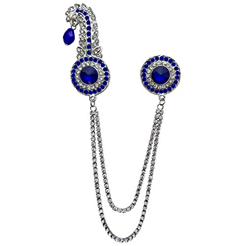 B-Fashionable Double Chain Round Kilangi Brooch (Blue)