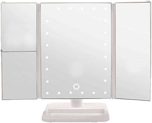 Espejo de maquillaje LED para escritorio con espejo de luz Espejo cuadrado Espejo grande de vanidad Espejo de luz de relleno Decoracion de escritorio (Color : White , tamaño : 30*25*18cm) : Amazon.es: Hogar