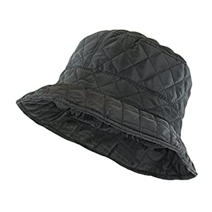 Foldable Water Repellent Quilted Rain Hat w/ Adjustable Drawstring, Bucket Cap