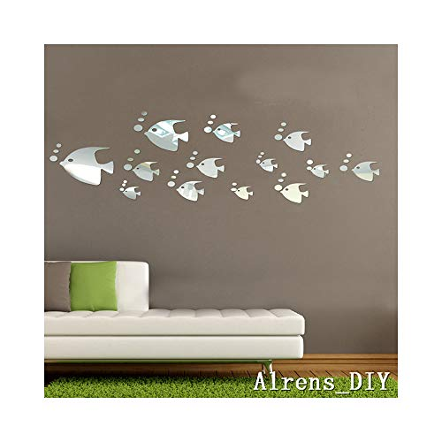 Alrens_DIY(TM)13 pcs Cute Fish+ 37pcs Small Bubbles Crystal DIY Mirror Effect Reflective 3D Wall Stickers Home Decoration Living Room Bedroom Bathroom Decor Mural Decal Removable Kid's Room Design Art