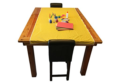 "KinderMat Yellow Mess Mat, 38"" x 80"", Protect the Floor and Table Tops from Food or Art Supply, Multi-Purpose"