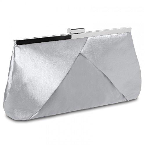 CASPAR TA320 Bolso de Mano Fiesta para Mujer / Clutch de Satén con Diseño Elegante - Varios Colores Plata