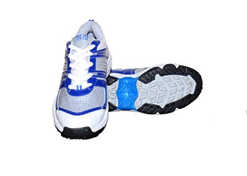 Mars M & M Chaussures de Cricket Blanc et Bleu Firefly Warrior