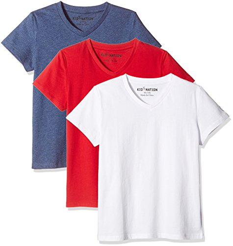 - Kid Nation Kids' 3-Pack and 2-Pack 100% Cotton Tag-Free Short Sleeve Basic Jersey V-Neck T-Shirt for Boys or Girls S White + Gray Blue Heather + Tomato Red