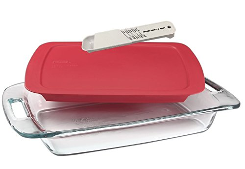 Pyrex Easy Grab 3-quart Glass Baking Dish with Red Cover and Jenn-air Measuring Spoon