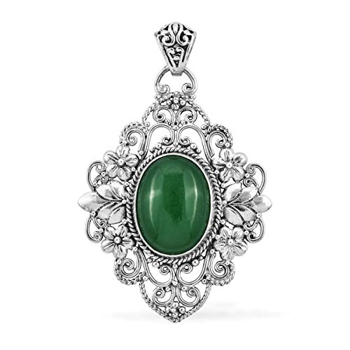 Pendant Necklace 925 Sterling Silver Oval Green Jade Gift Jewelry for Women - Oval Green Jade Pendant