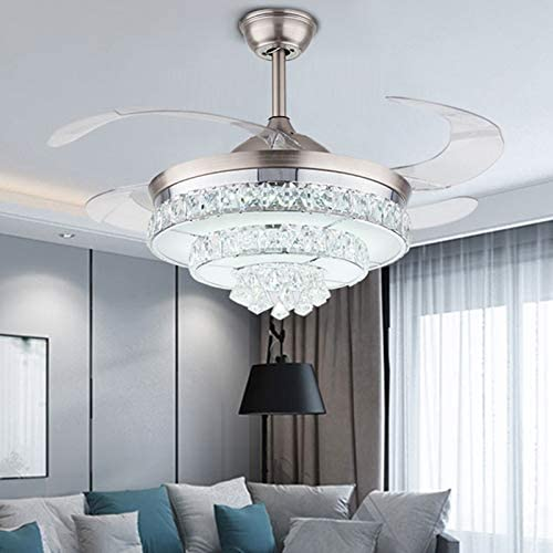 DYRABREST 42″ Crystal Ceiling Fans Lights and Remote Control Retractable Blades Chandelier Fan Lamp 3 Color Changes 3 Speed Adjustable Ceiling Lighting Fixture For Home Decoration Living Room Type A