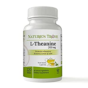 L-Theanine 200mg by Nature's Trove – 120 Vegetarian Capsules