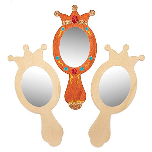 Baker Ross Decorate Your Own Handheld Wooden Princess Mirror (Pack of 4) Mirror Craft Kit for Kids to Decorate and Personalise ()