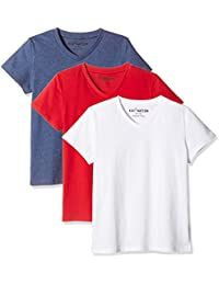 Kids' 3-Pack Short-Sleeve V-Neck Cotton Jersey T-Shirt for Boys or Girls