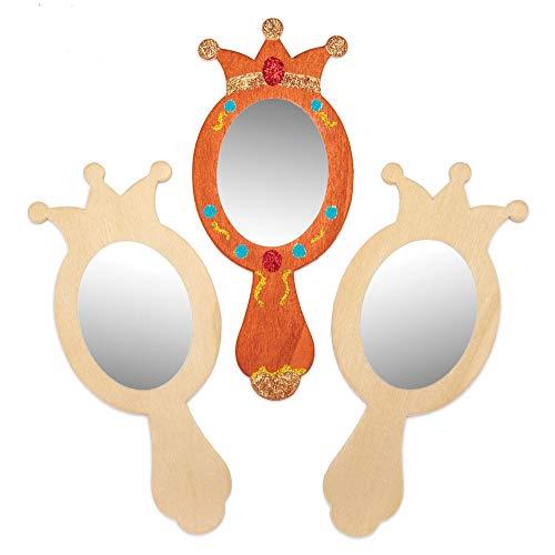 Baker Ross- Decora tu Propio Espejo de Mano de Princesa de Madera (Pack de 4) - Manualidades con Espejo para Que los ninos decoren y personalicen
