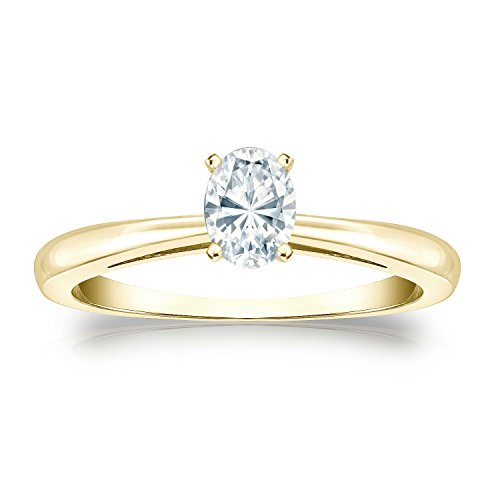 14k Yellow Gold Oval Diamond Simulant CZ Solitaire Ring 4-Prong(1/3 ct,Excellent (Four Prong 14ky Gold Solitaire)