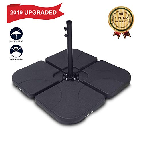 FRUITEAM Umbrella Weights Outdoor Cantilever Umbrella Base, Umbrella Base Weights Offset Patio Umbrella Weights, 4 Pieces Fillable Water Sand, Heavy Duty Plastic Patio Stand, Black
