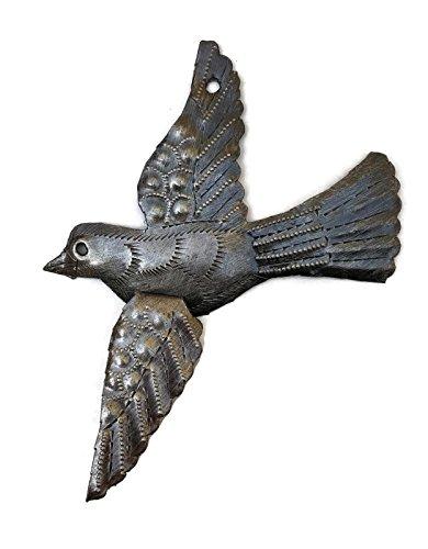 Single Metal Bird, Recycled Steel Drum Art 3D Wings, Haitian Art 5 in. x 4.5 in.