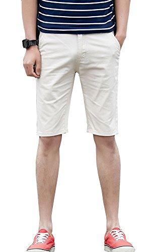 (Plaid&Plain Men's Flat Front Skinny Shorts Men's Chino Shorts 7507Beige 33)