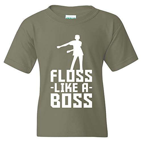 - Floss Like A Boss - Back Pack Kid Flossin Dance Funny Emote Youth T Shirt - X-Large - Military Green