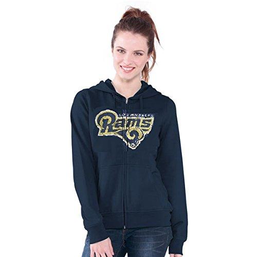 Los Angeles Rams NFL Women's Distressed Team Logo Full Zip Up Hoodie - Raw Blue Bailey