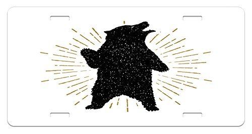 zaeshe3536658 Bear License Plate, Sketch of Tribal Icon with Roaring Grizzly Bear and Sunburst Effect Vintage Wildlife, High Gloss Aluminum Novelty Plate, 6 X 12 Inches, Black White