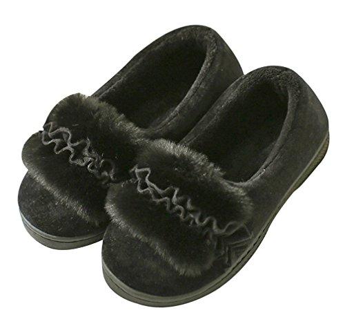 Cattior Dames Bloem Warme Slippers Huis Schoenen Indoor Outdoor Slippers Zwart