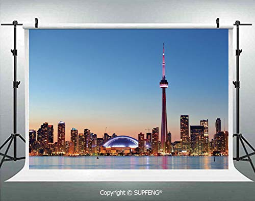 Background Canadian Skyline Toronto City with Lake Panorama at Evening Urban Scenery Decorative 3D Backdrops for Interior Decoration Photo Studio Props
