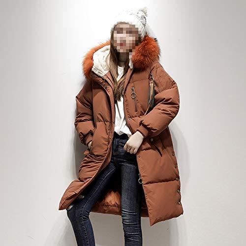 Long Ample D'hiver Fourrure Rouge Coréenne Grand Col Doudoune Femme En Avec Veste Capuche wrwOX