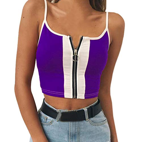 Camis,Toimoth Sexy Women Strappy Sleeveless Patchwork Zipper Casual Vest Tops Blouse (Purple,L) -