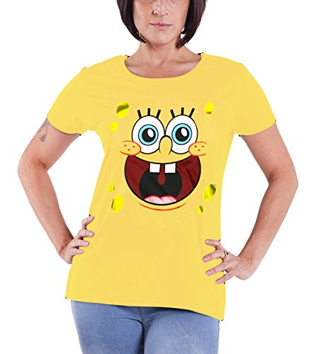 Officially Licensed Merchandise Sponge Happy Face Girly T-Shirt, X-Large Black