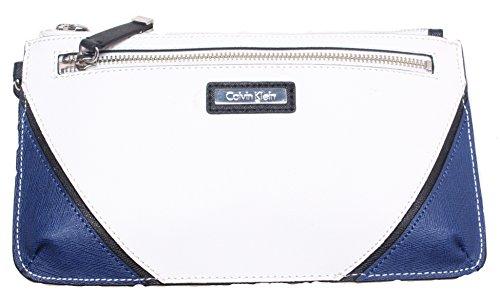 Calvin Klein Two Tone Leather Wristlet Clutch; Navy & White